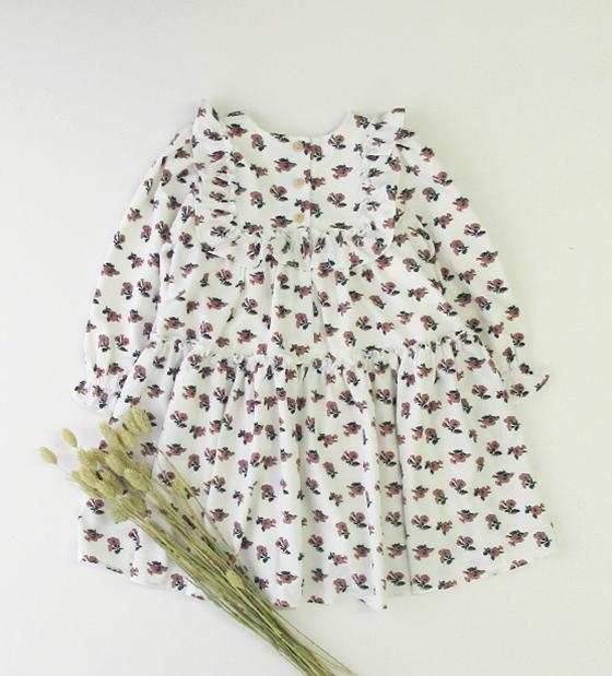 花柄スクエアフリルワンピース